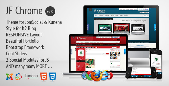 JF Chrome - Joomla Kunena JomSocial Template - JF Chrome Preview