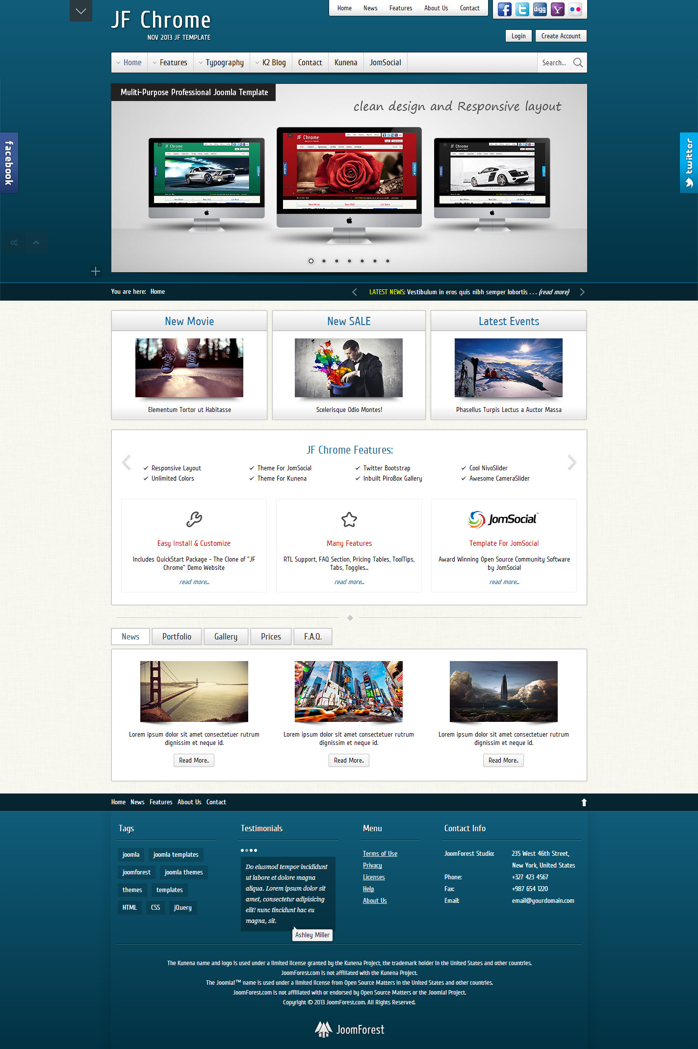 JF Chrome - Joomla Kunena JomSocial Template - JF Chrome - Blue Skin