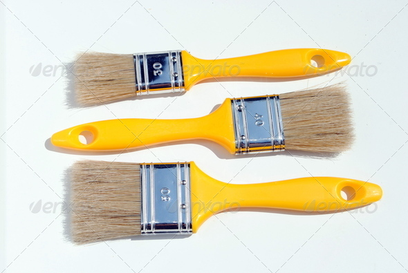 three yellow paints, different dimension - Stock Photo - Images