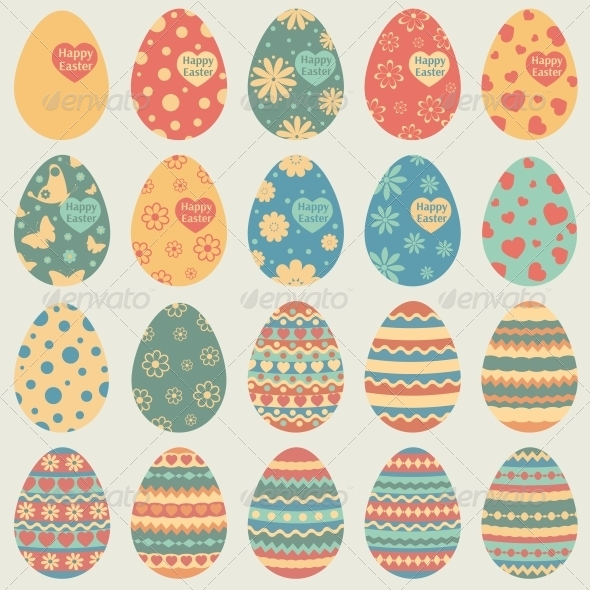 GraphicRiver Easter Eggs Icons 6475786