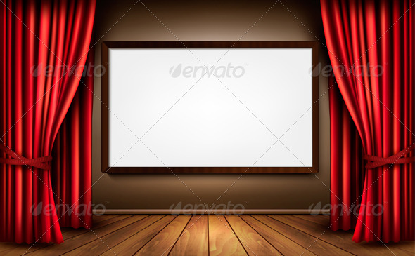 GraphicRiver Background with Red Velvet Curtain and a Screen 6475970
