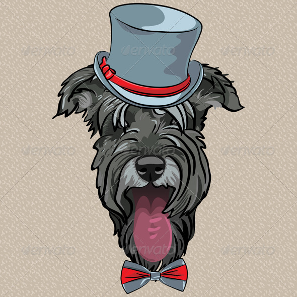 GraphicRiver Hipster Dog Schnauzer 6477034
