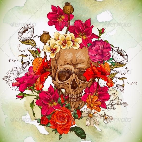 Череп из цветов