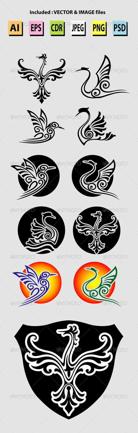 GraphicRiver Bird Symbols 6477681