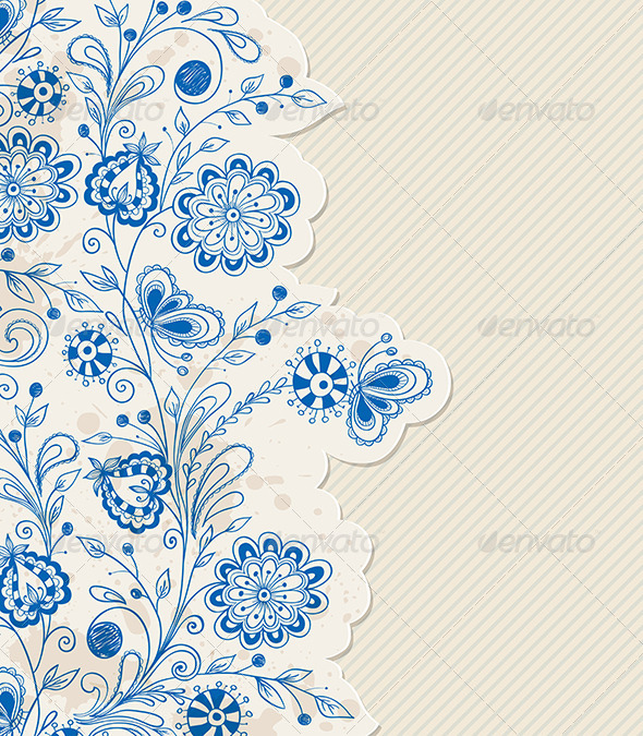 GraphicRiver Blue Hand Drawn Flowers 6479427