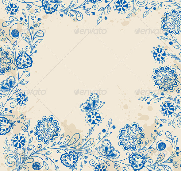 GraphicRiver Decorative Background with Blue Flowers 6481524