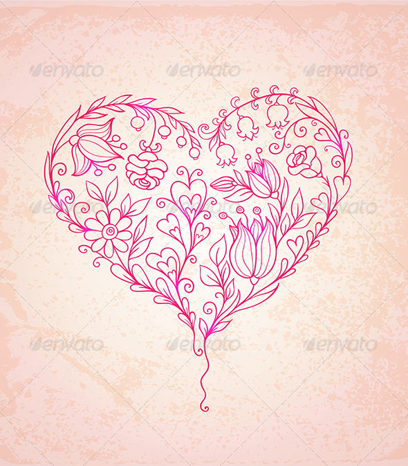 GraphicRiver Hand Drawn Floral Heart 6481554