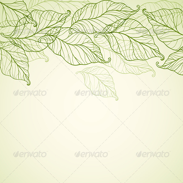 GraphicRiver Background with Falling Green Leaves 6481681