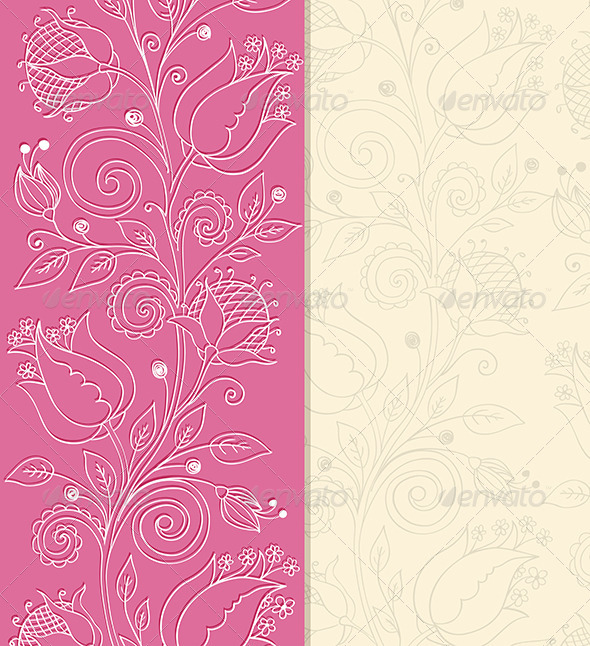 GraphicRiver Pink Background with Hand Drawn Flowers 6481687