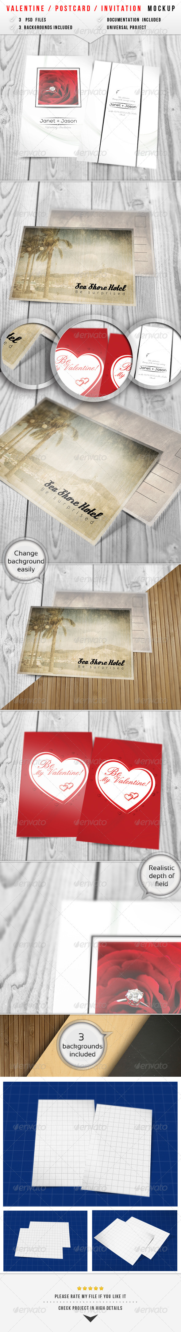 GraphicRiver Valentine Invitation Mockup 2 6481688