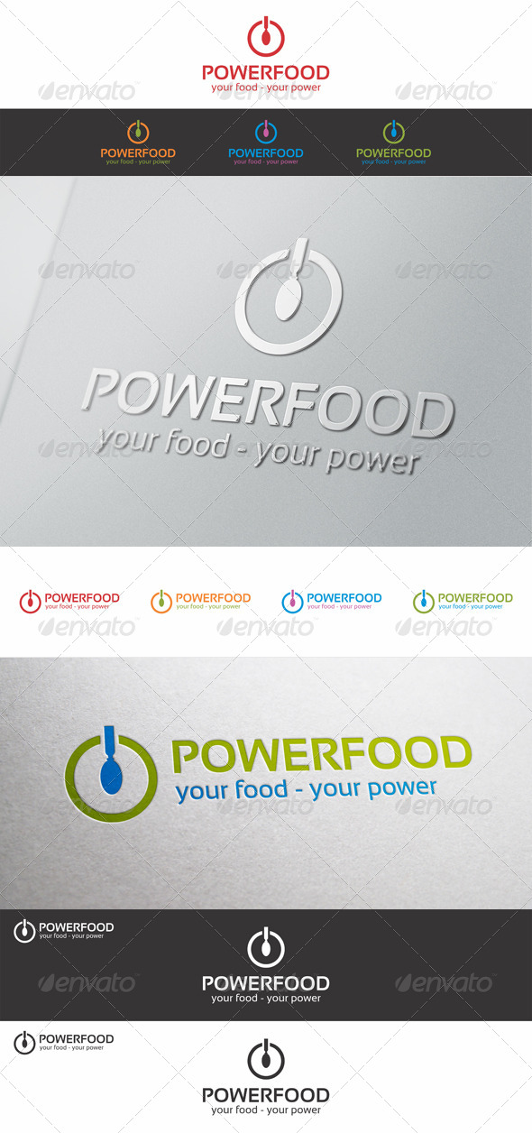 Power Food Logo Template - Food Logo Templates