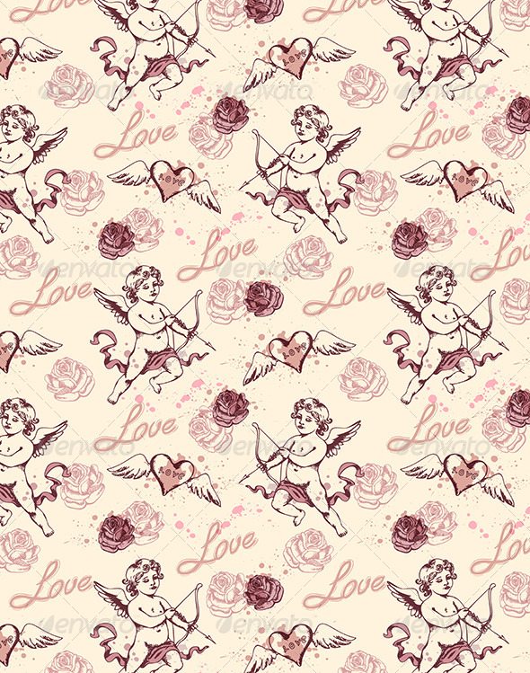 GraphicRiver Vintage Seamless Pattern with Cupid 6482553