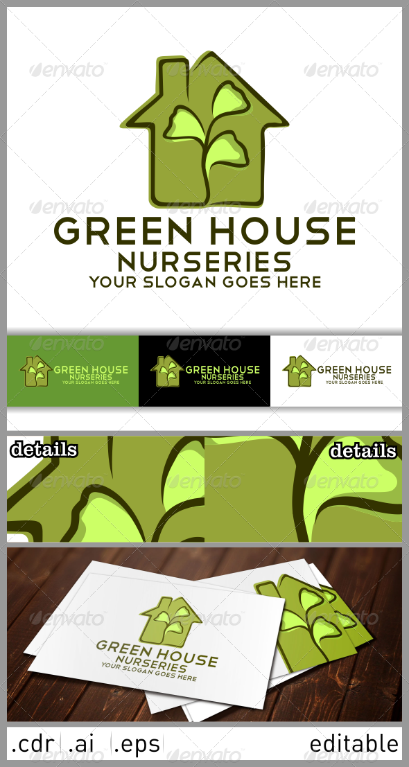 GraphicRiver Green House Nurseries Logo Template 6482574