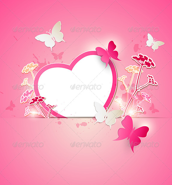 GraphicRiver Paper Heart and Butterflies 6482583