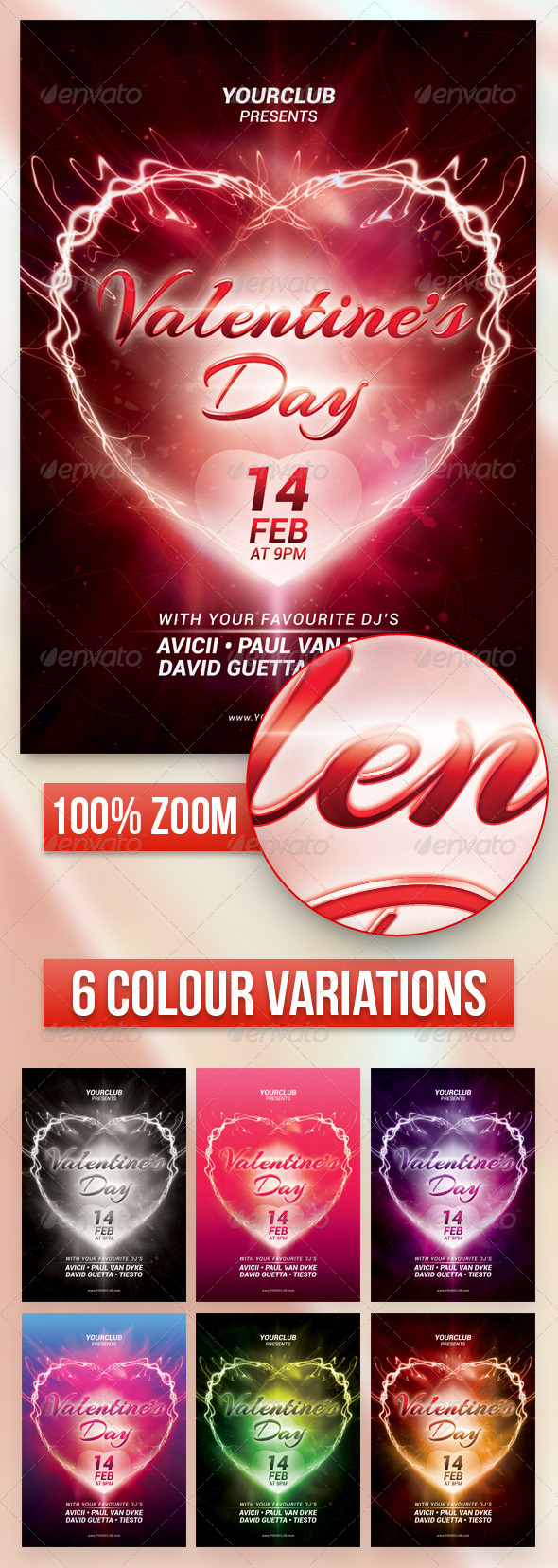 GraphicRiver A5 Valentine s Day Party Flyer Poster 7 in 1 6482870