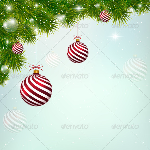 GraphicRiver Christmas Blue Background with Red New Year Balls 6483512