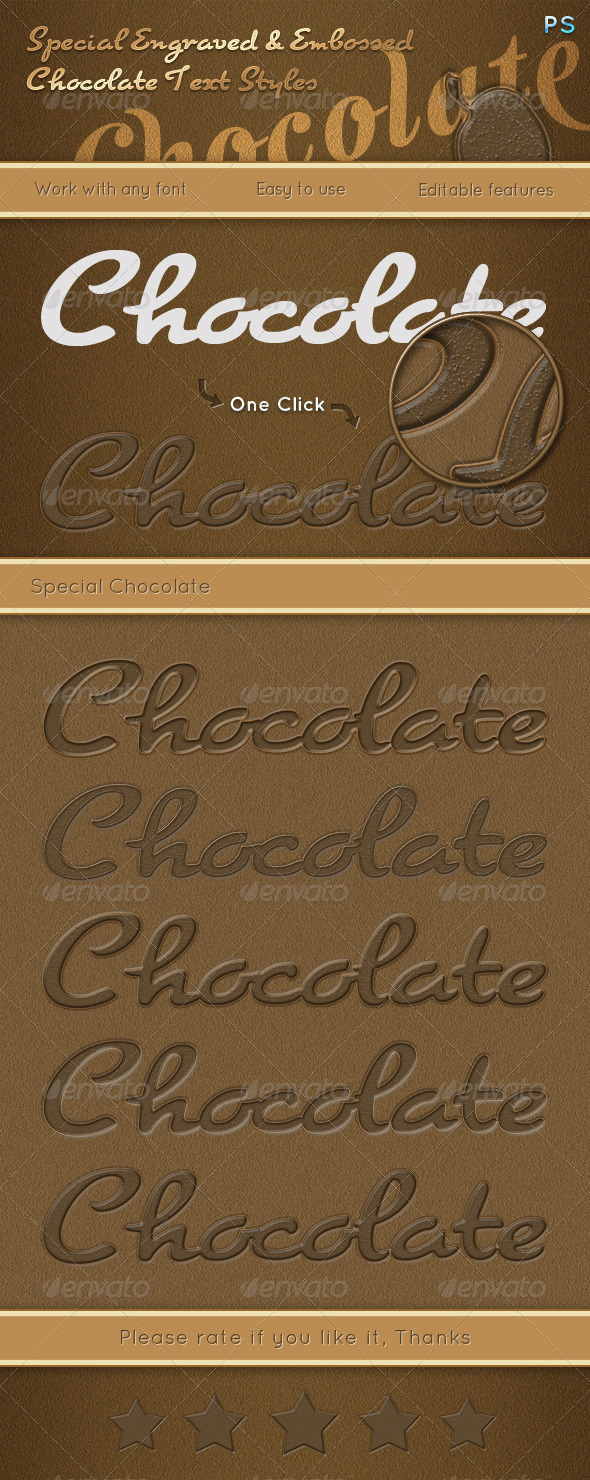 GraphicRiver Special Engraved & Embossed Chocolate Text Styles 6483975