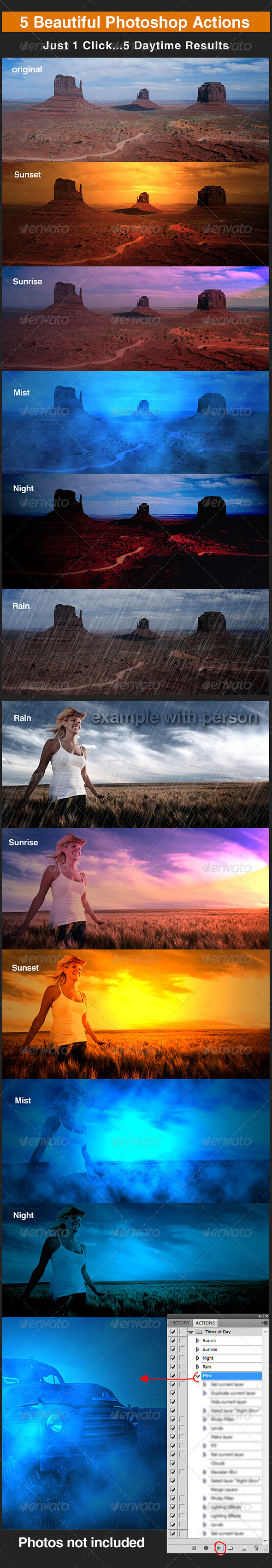 Photoshop Daytime Action Set - Photo Effects Actions