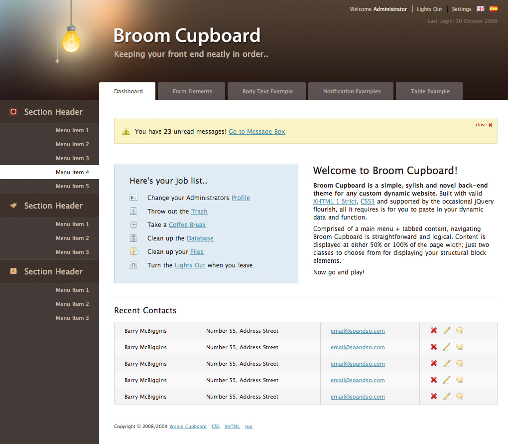 Broom Cupboard Admin Skin - Dashboard example showing left menu and tabs running underneath the header. Content of Broom Cupboard is navigated using a combination of the two. Light has been turned on..