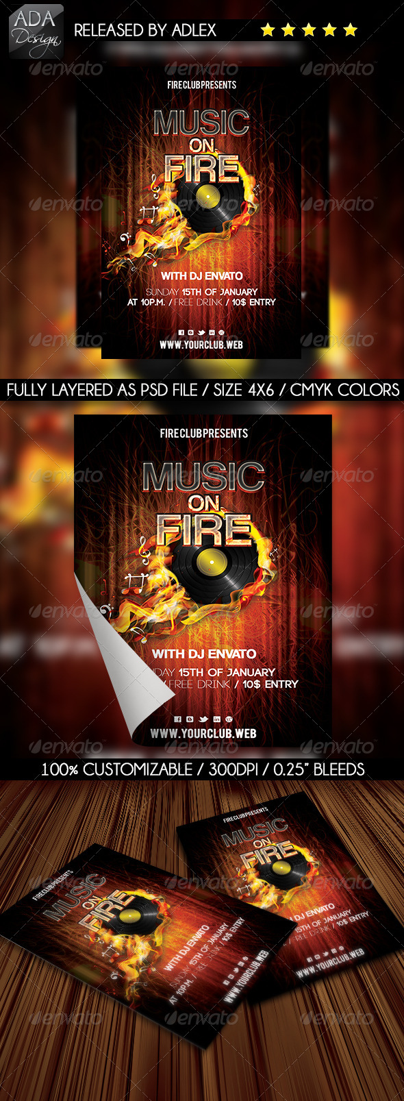 GraphicRiver Music on Fire Party Flyer 6480440