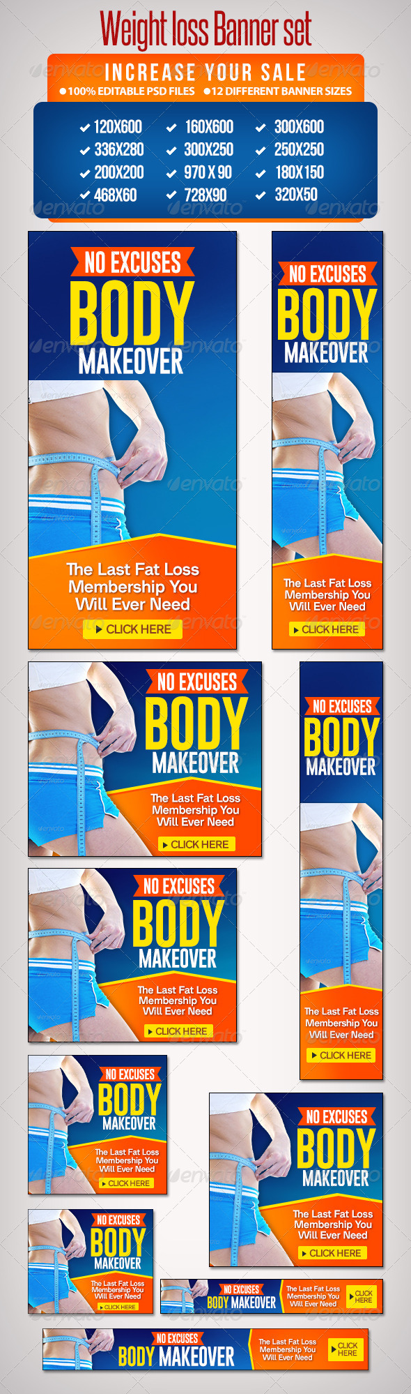 GraphicRiver Weightloss Banner Set 3 12 Google Standard Sizes 6492723