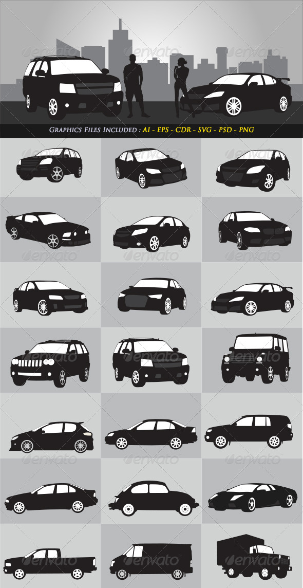 GraphicRiver Car Silhouettes 6492776