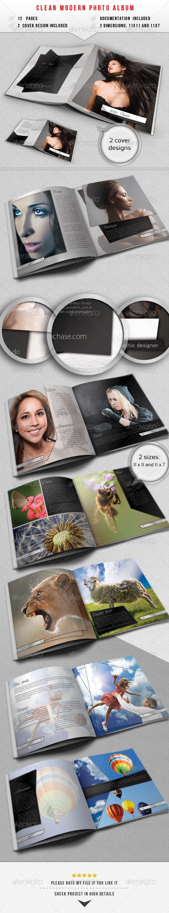 Clean Modern Photo Album - Photo Albums Print Templates