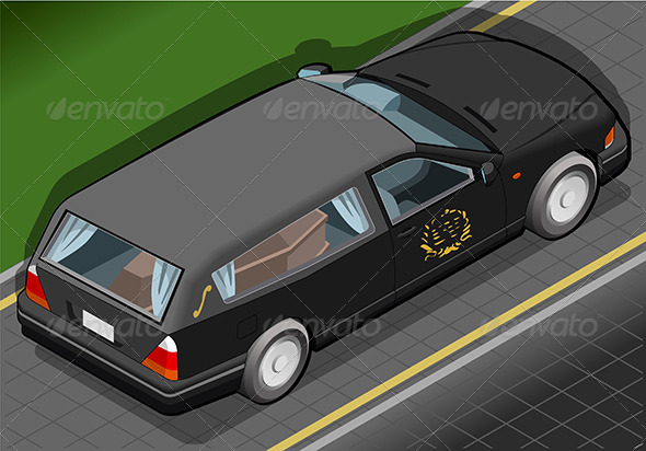 GraphicRiver Isometric Hearse in Rear View 6494457
