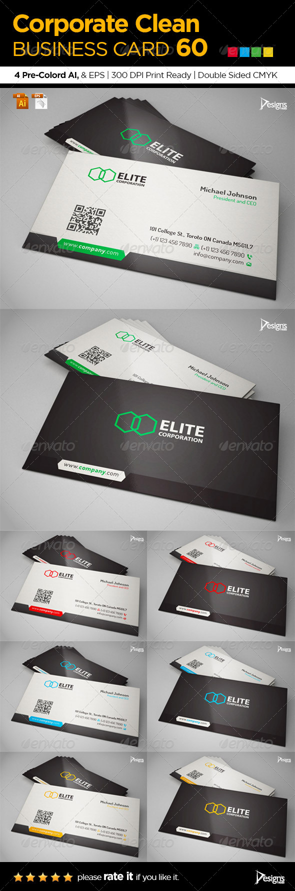 GraphicRiver Corporate Clean Business Card 60 6494459