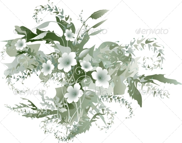 GraphicRiver Delicate Floral Grisaille 6494820