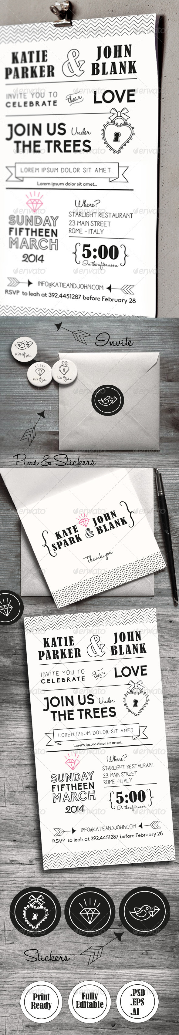 GraphicRiver Wedding Invitation Set 6401843