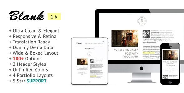 Blank - Elegant and Minimalist Wordpress Blog - Personal Blog / Magazine
