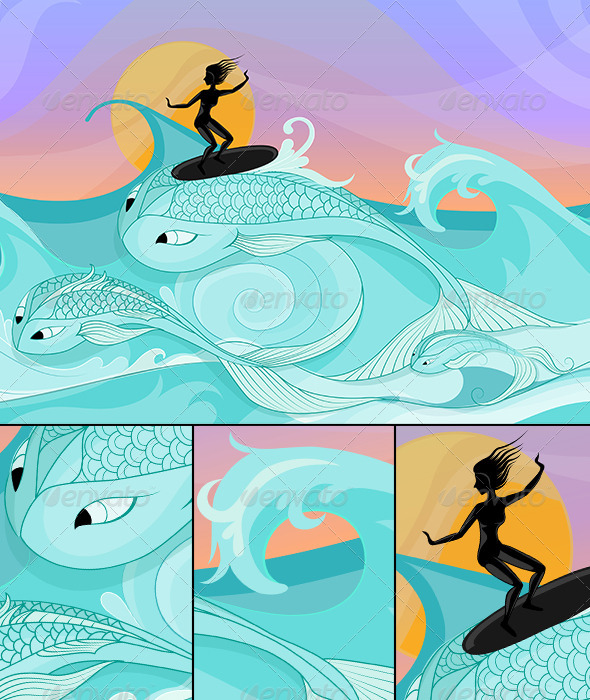 GraphicRiver Female Surfer on Ocean Waves Stylized as Big Fish 6495068
