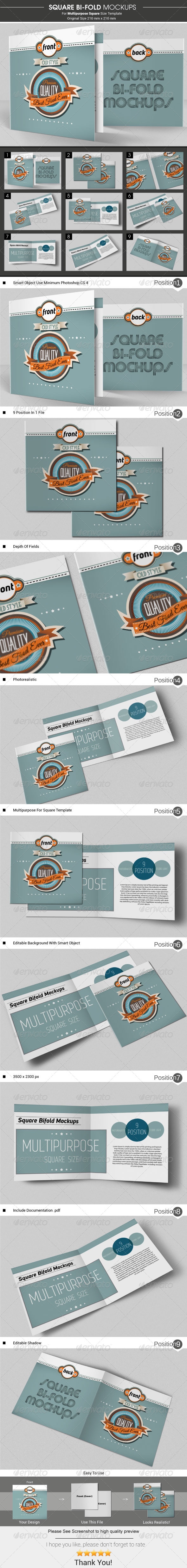 GraphicRiver Square Bi-Fold Brochure Mockups 6497042