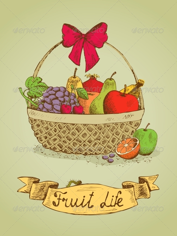 GraphicRiver Fruit Life Gift Basket with Bow Emblem 6497997
