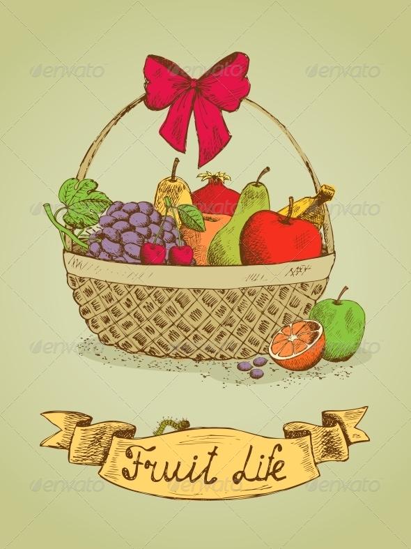 GraphicRiver Fruit Life Gift Basket with Bow Emblem 6497997