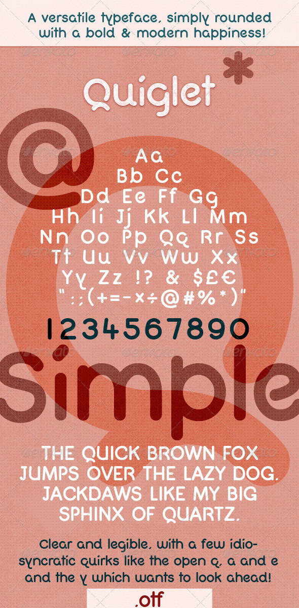 GraphicRiver Modern Bold Rounded Font Quiglet 6500627