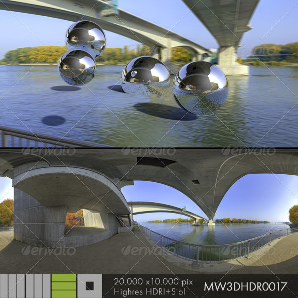 3DOcean MW3DHDR0017 Rhine River Bridge Worms Gemany 6501524