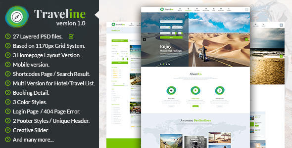 Traveline | Booking PSD Template - Travel PSD Templates