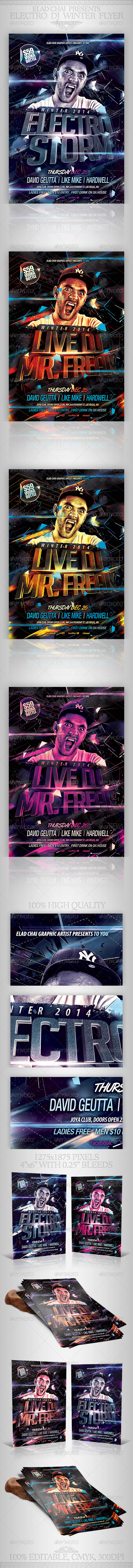 GraphicRiver Electro Dj Party Flyer Template 6502526