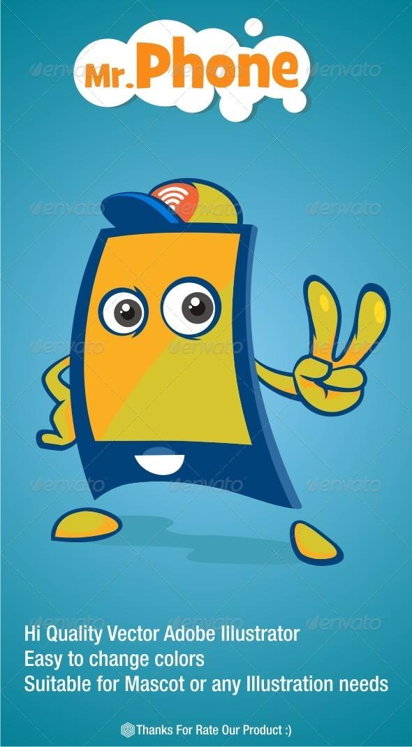 GraphicRiver Mr Phone Mascot 6505840