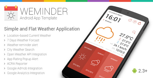 CodeCanyon Weminder Android Weather Application Template 6506279