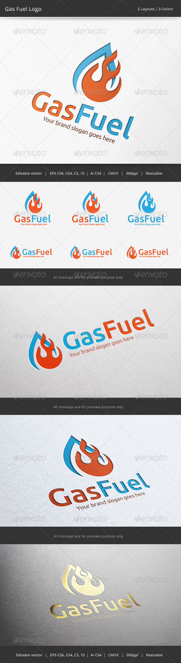 GraphicRiver Gas Fire Fuel Logo 6506329