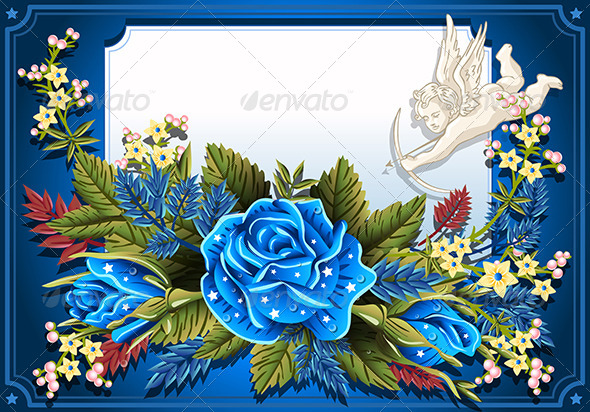 GraphicRiver Blue Roses Ornament on Vintage Frame 6506624