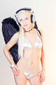 Gorgeous Blonde DJ Angel in Silver Bikini - PhotoDune Item for Sale