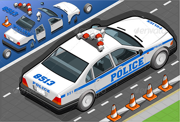 GraphicRiver Isometric Police Car in Rear View 6507622