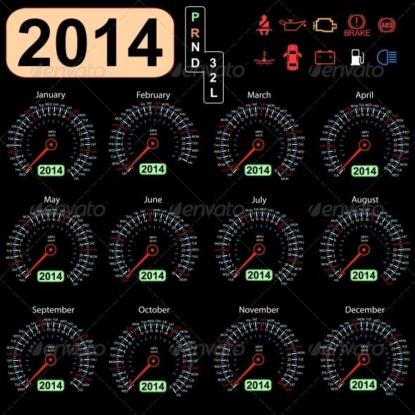 GraphicRiver 2014 Year Calendar Speedometer 6508026