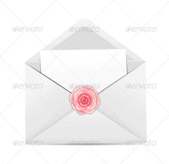 GraphicRiver Valentine`s Day Card with Envelope and Rose Flower 6509353