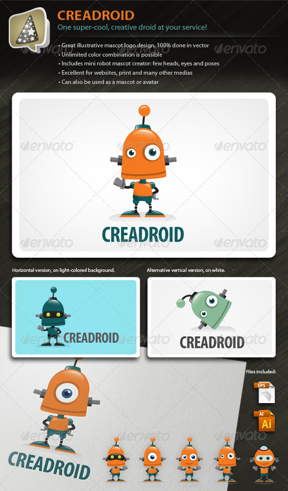 Creadroid - Robot Mascot Logo For Any Creative Biz - Objects Logo Templates
