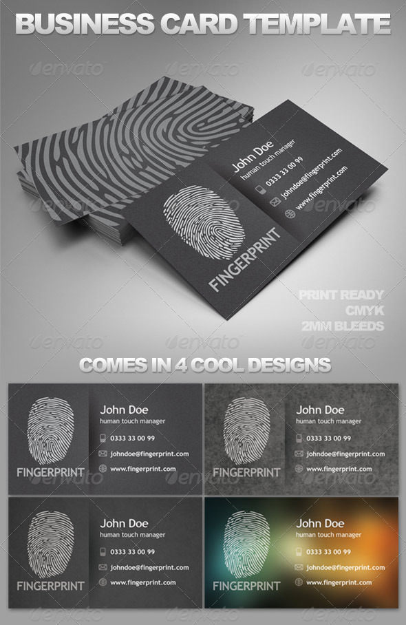 FingerPrint Card Template - Creative Business Cards